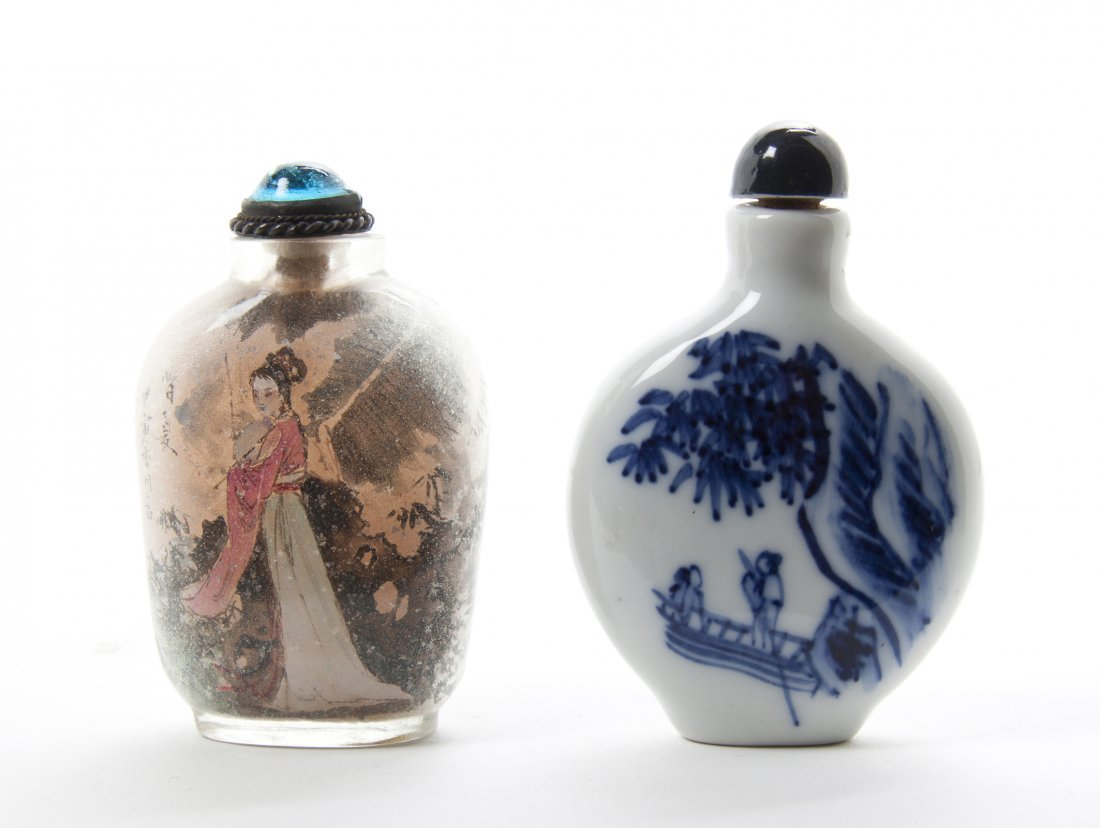 A Chinese Porcelain Snuff Bottle, Height of tallest 2 5