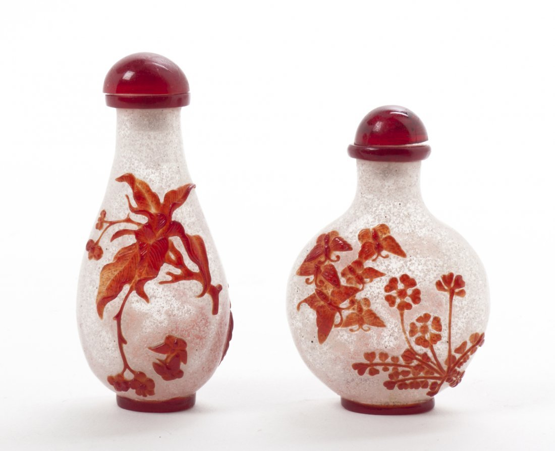 Two Red Glass Overlay Snuff Bottles, Height of tallest