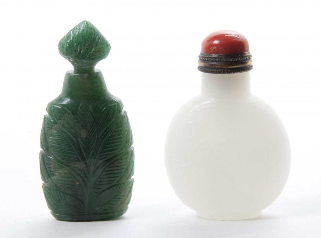 A Carved Hardstone Scent Bottle, Height of first overal