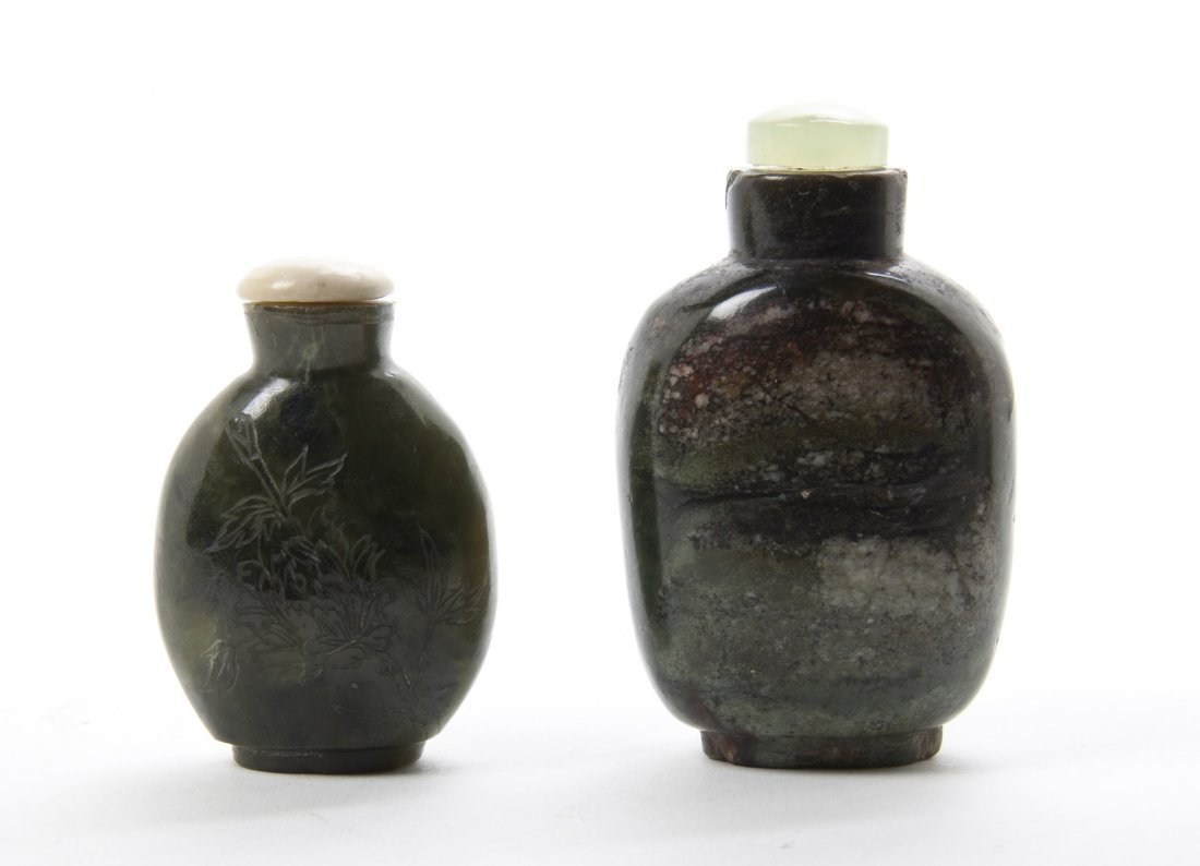 Two Hardstone Snuff Bottles, Height of tallest 2 3/4 in