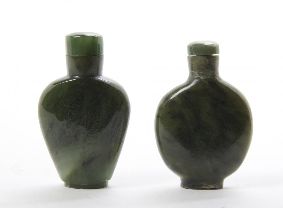 Two Hardstone Snuff Bottles, Height of tallest 2 1/8 in