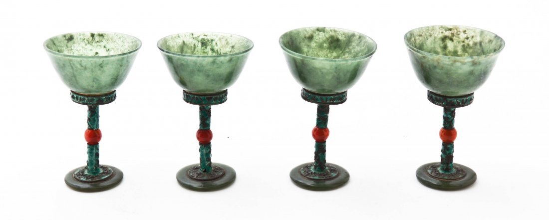 Four Chinese Hardstone Stem Cups, Height 3 1/4 inches.