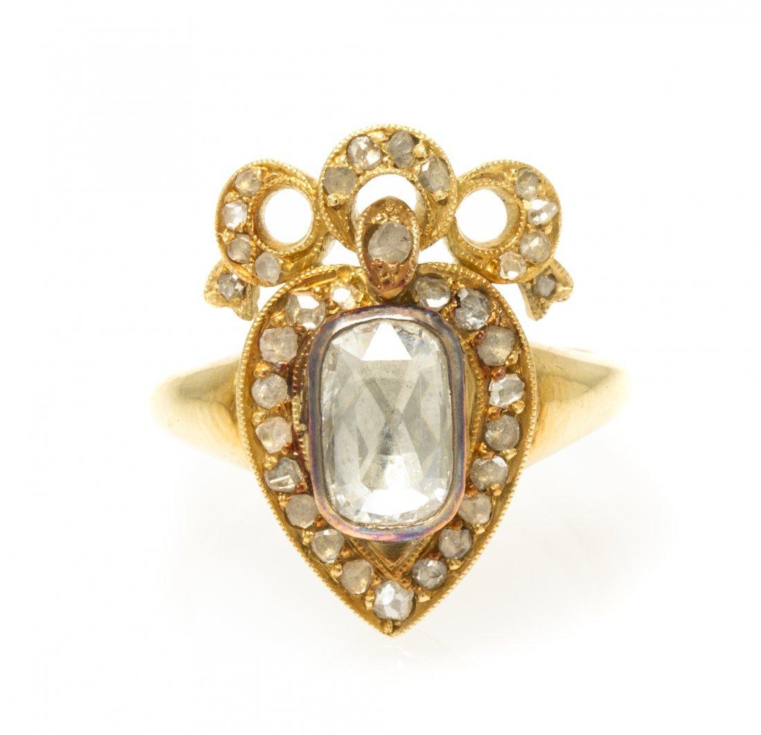 An 18 Karat Yellow Gold and Diamond Ring, 5.40 dwts.