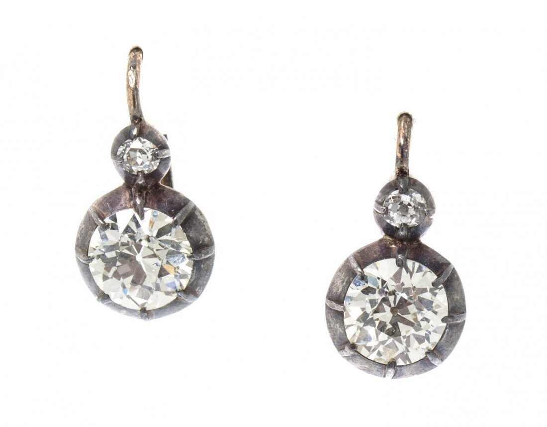 A Pair of Antique Silver Topped Gold and Diamond Earrin