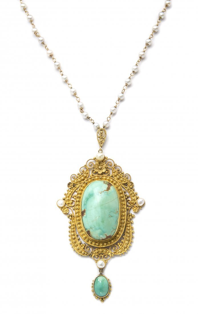 An Antique 12 Karat Yellow Gold, Turquoise and Pearl Pe