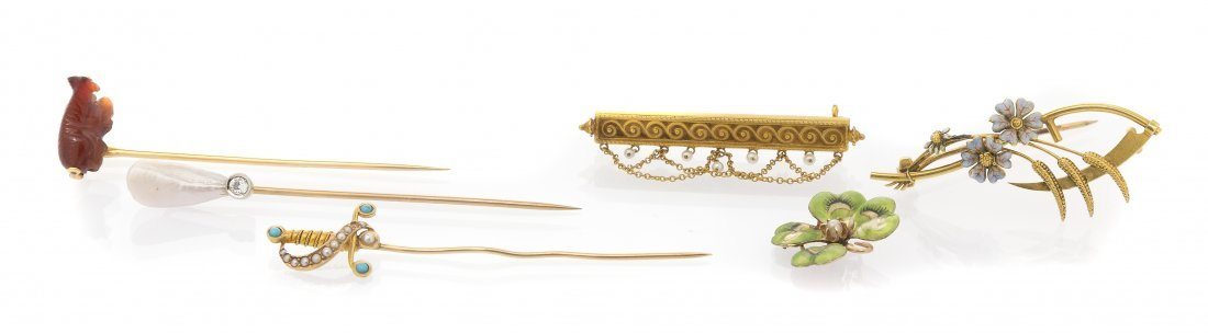 A Collection of Antique Yellow Gold Jewelry, 10.00 dwts