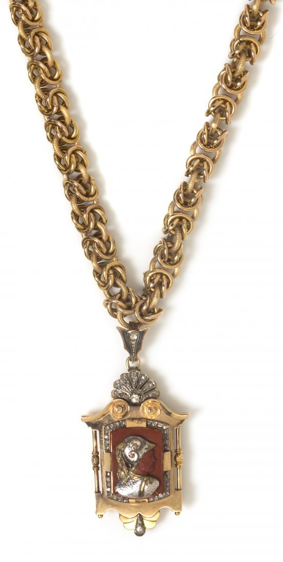 A Victorian Yellow Gold, Silver, Jasper and Diamond Cam