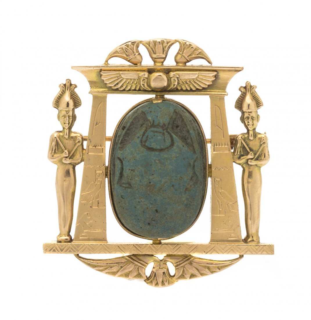 An Egyptian Revival Yellow Gold and Scarab Brooch, Circ