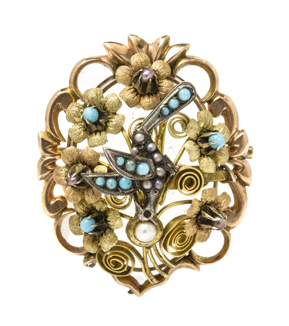 A Victorian Yellow Gold, Turquoise and Pearl Pendant/Br