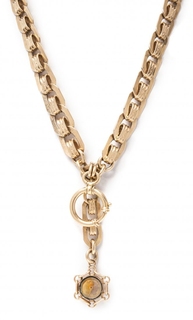An Antique Yellow Gold Fob Chain, 53.80 dwts.