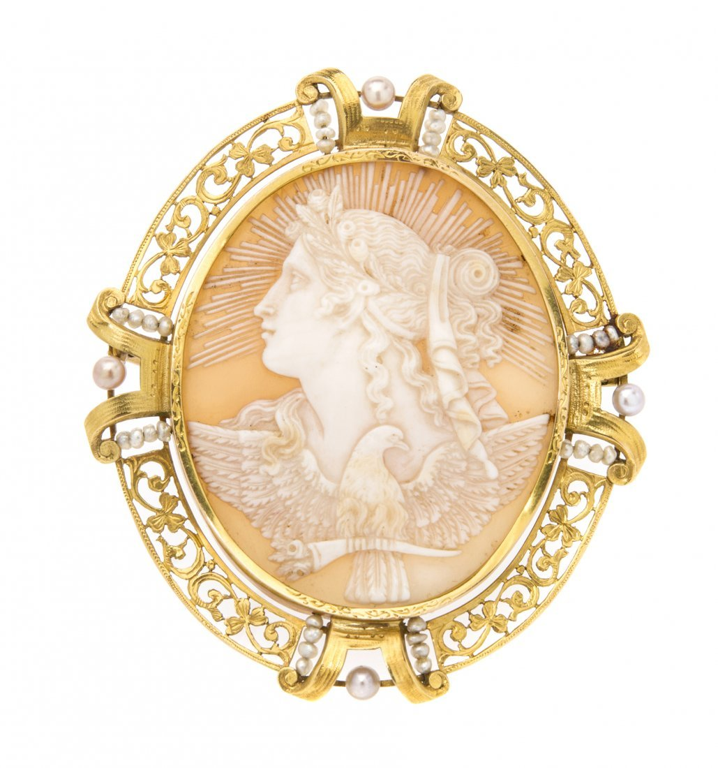 A Victorian Yellow Gold, Pearl and Shell Cameo Brooch,