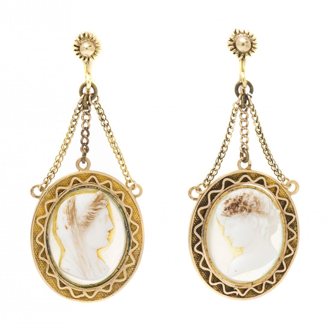 A Pair of 14 Karat Yellow Gold and Cameo Earrings, 5.00