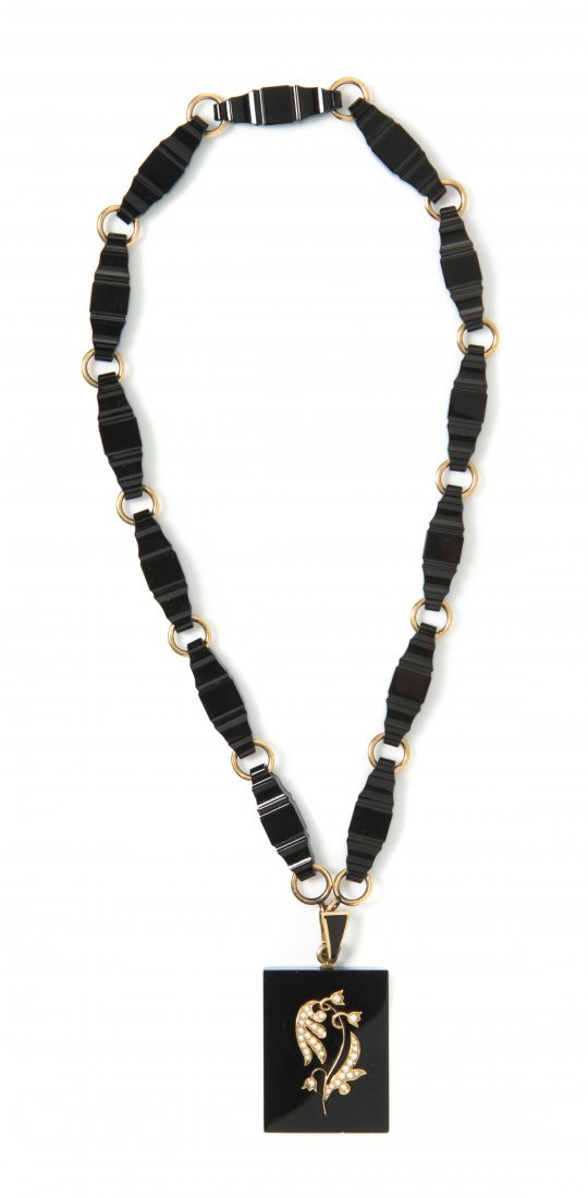 A Victorian Yellow Gold, Onyx, Enamel and Seed Pearl Ne