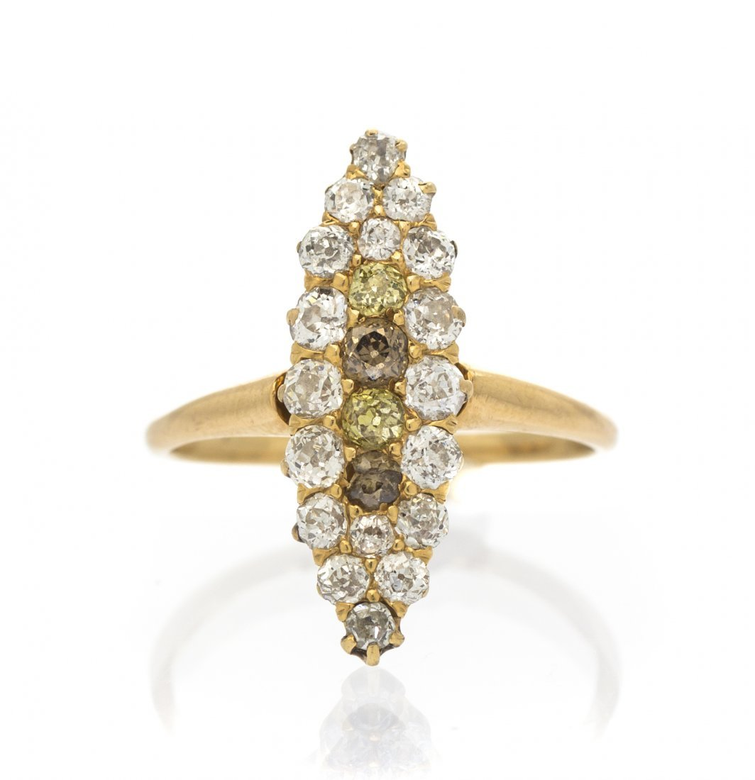 An Antique Yellow Gold, Colored and Diamond Ring, Circa