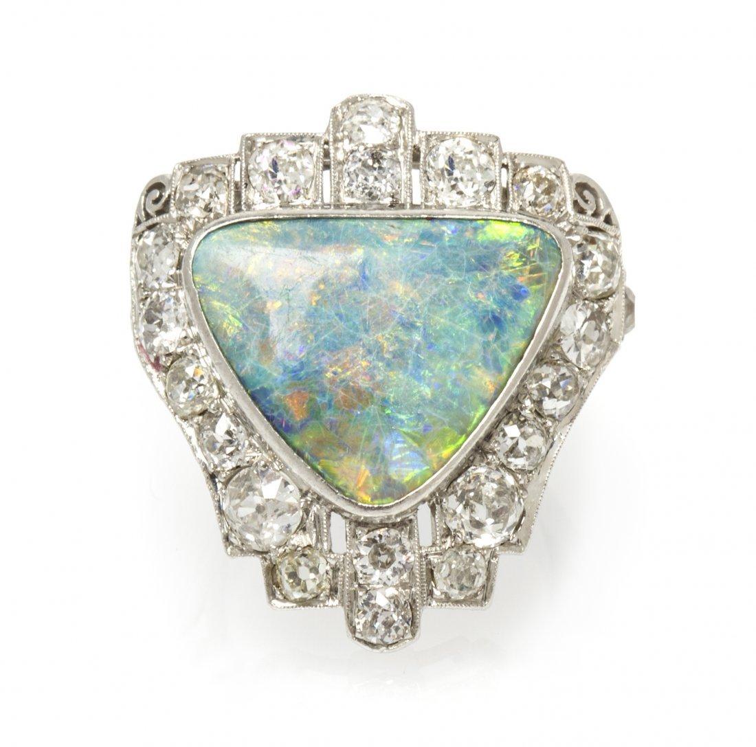 An Art Deco Platinum, Grey Opal and Diamond Ring, 6.20