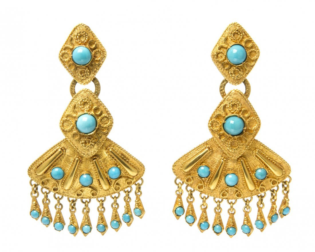 A Pair of 14 Karat Yellow Gold and Turquoise Earclips,