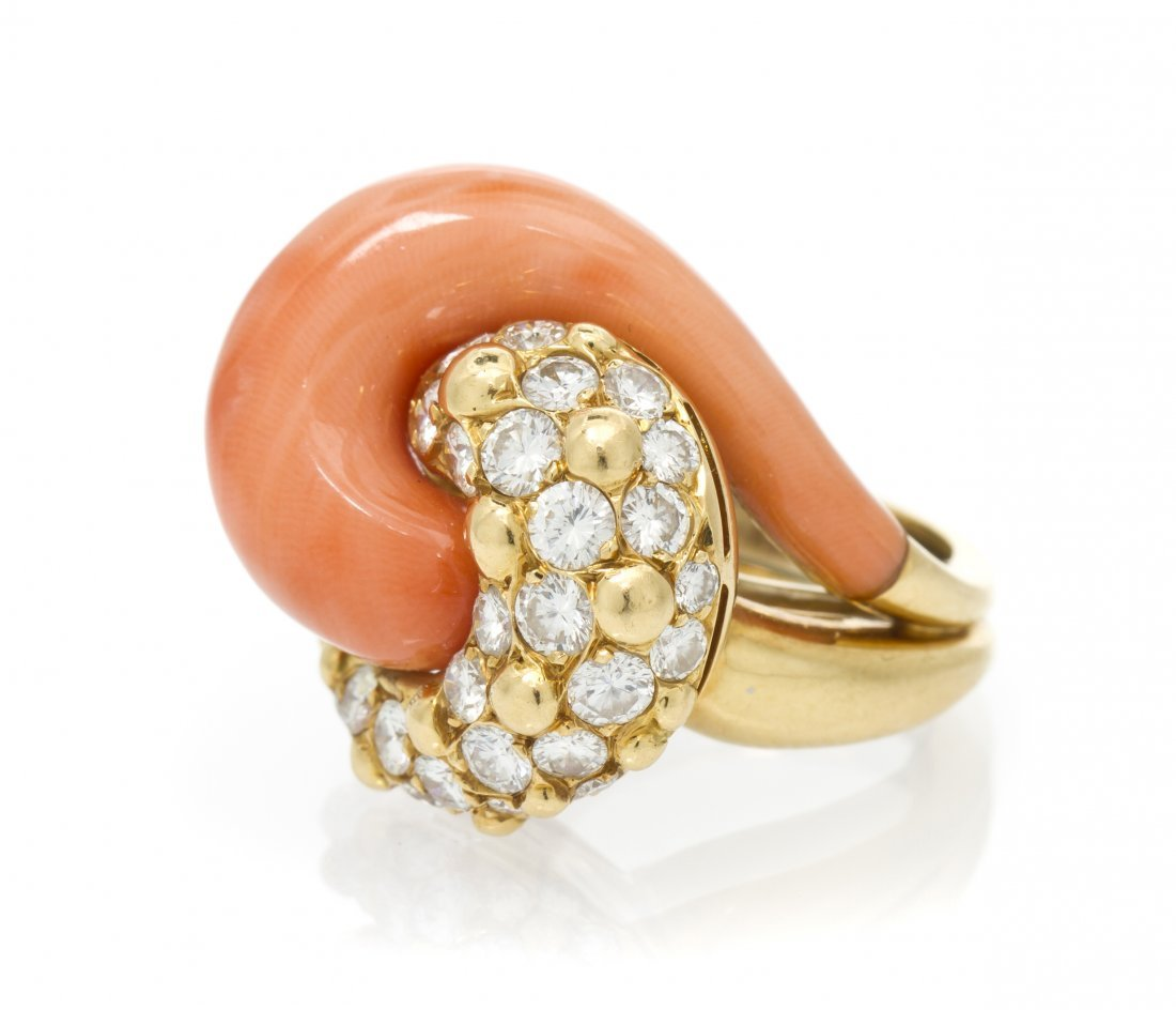 A Vintage 18 Karat Yellow Gold, Coral and Diamond Ring,