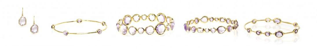 A Collection of 18 Karat Yellow Gold and Amethyst Jewel