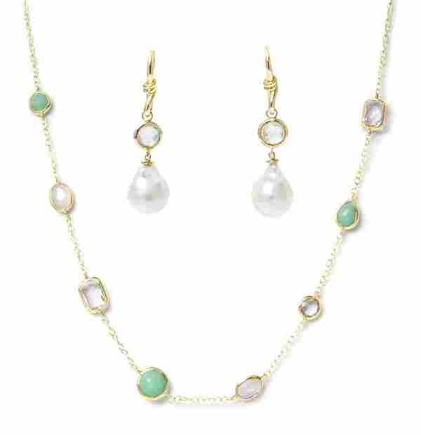 A Collection of 18 Karat Yellow Gold and Multi Gem Jewe