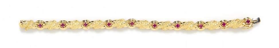 A Vintage 18 Karat Yellow Gold and Ruby Bracelet Tiffa