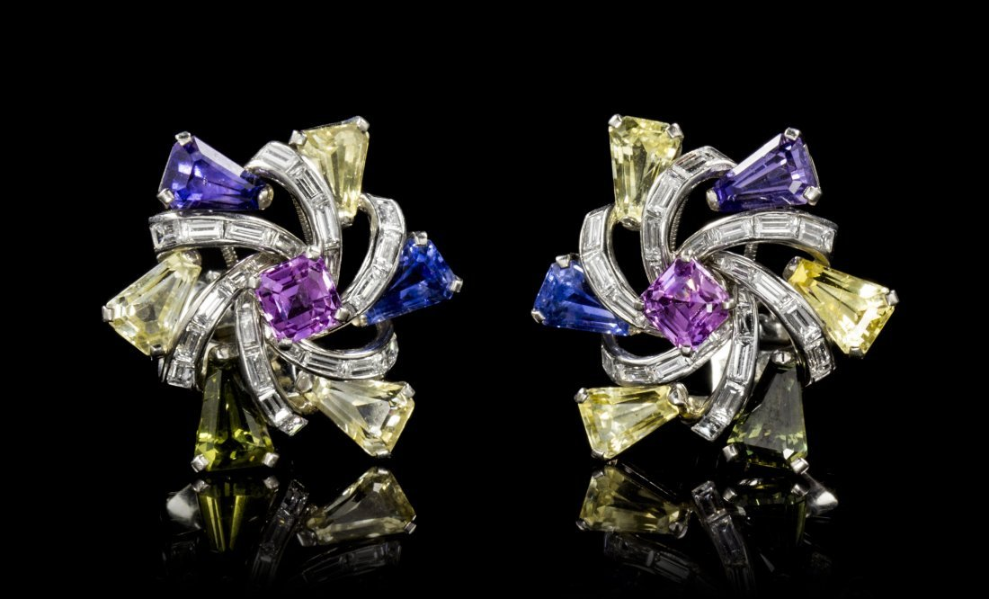 A Pair of Platinum, Fancy Sapphire and Diamond Earclips