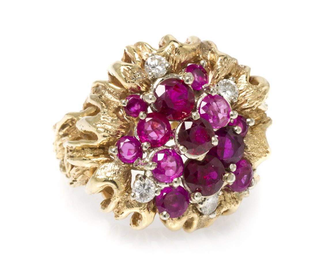 A 14 Karat Yellow Gold, Ruby and Diamond Cluster Ring,