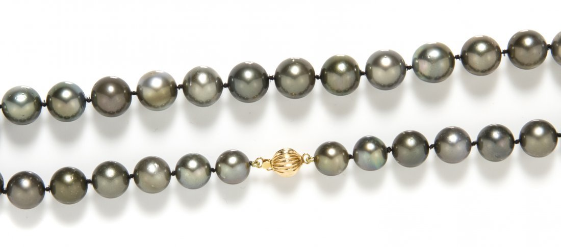 A Single Strand of Graduated Tahitian Pearls,