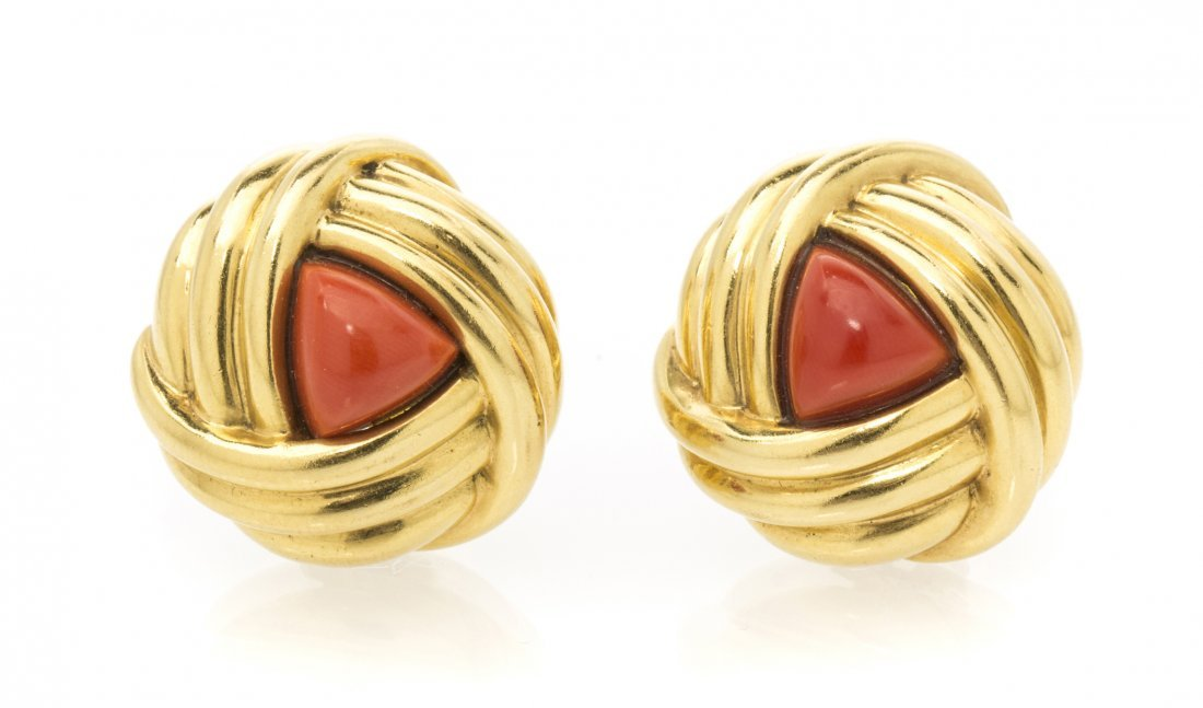 A Pair of 18 Karat Yellow Gold and Coral Earclips, Tiff