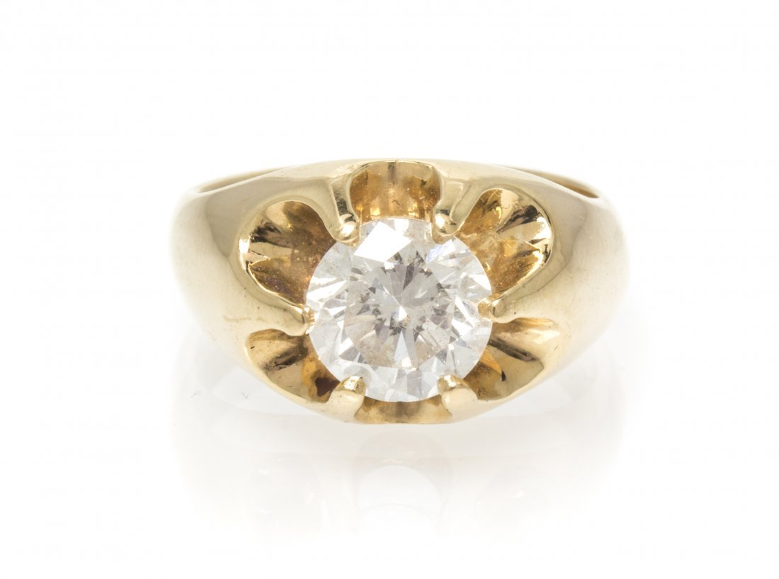 A 14 Karat Yellow Gold and Diamond Ring, 8.70 dwts.
