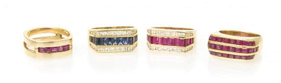 A Collection of Yellow Gold and Mutli Gem Rings, 28.70