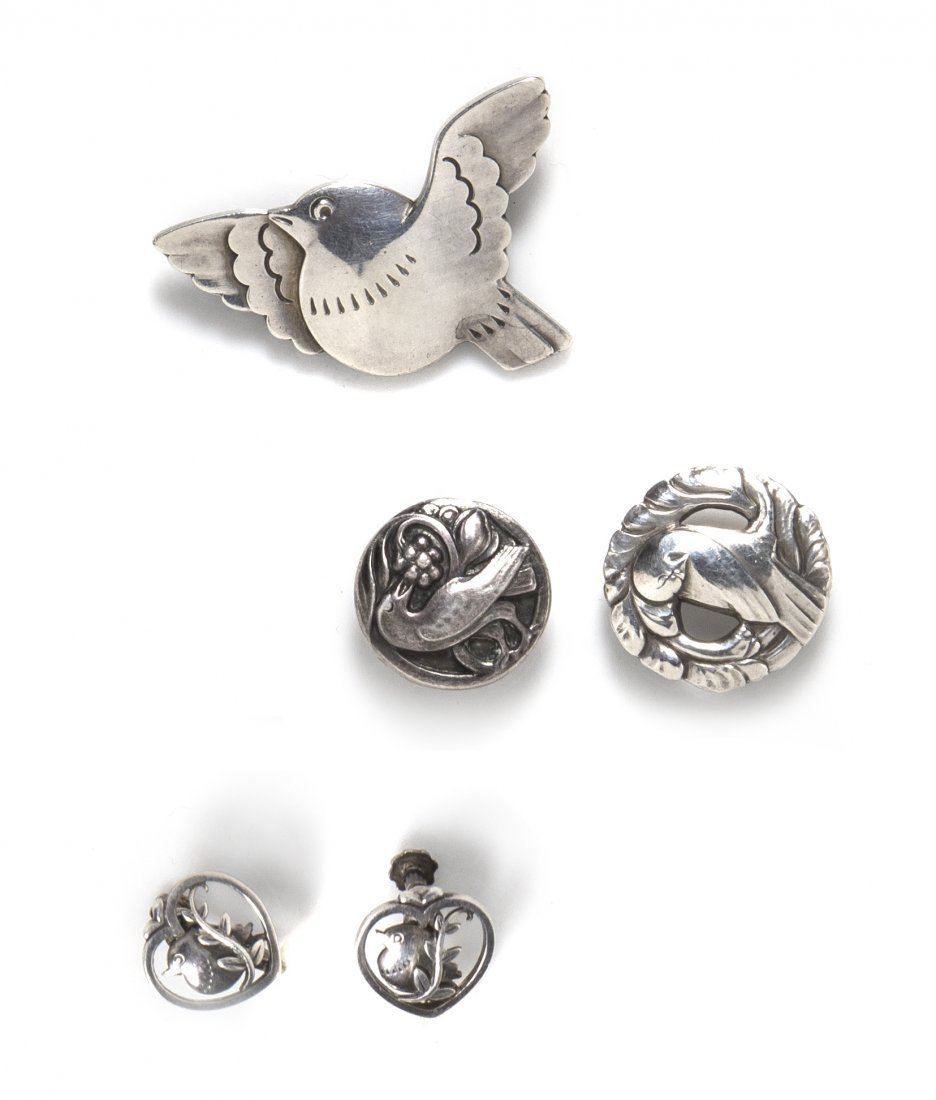 A Collection of Vintage Silver Bird Motif Jewelry, Geor