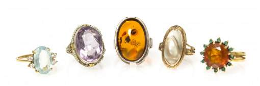 A Collection of Multi Gem Rings, 15.63 dwts.