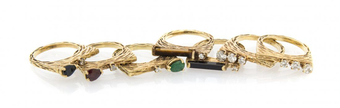 A Collection of 14 Karat Yellow Gold and Multi Gem Stac