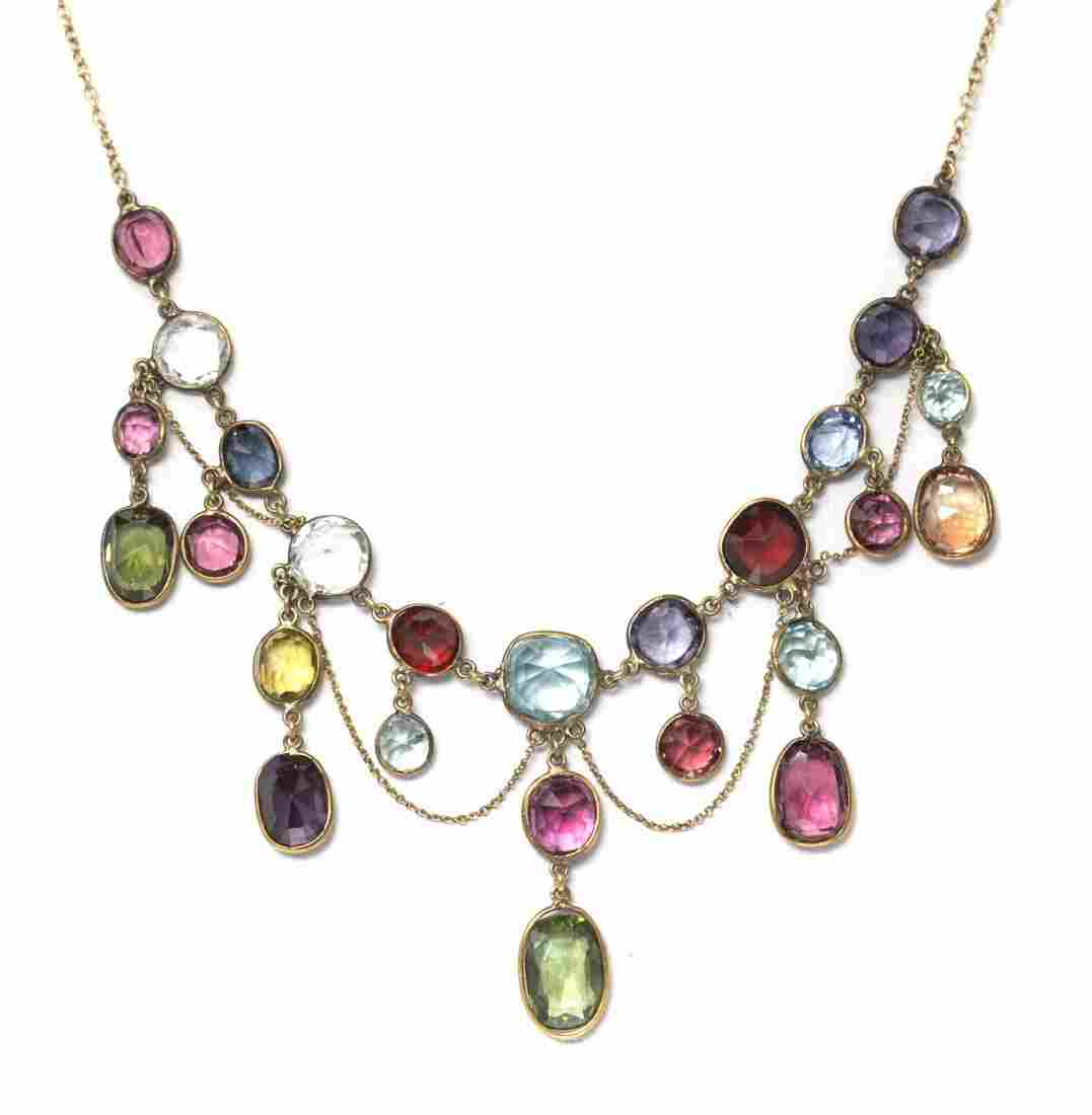 A 10 Karat Yellow Gold and Multi Gem Necklace, 5.60 dwt