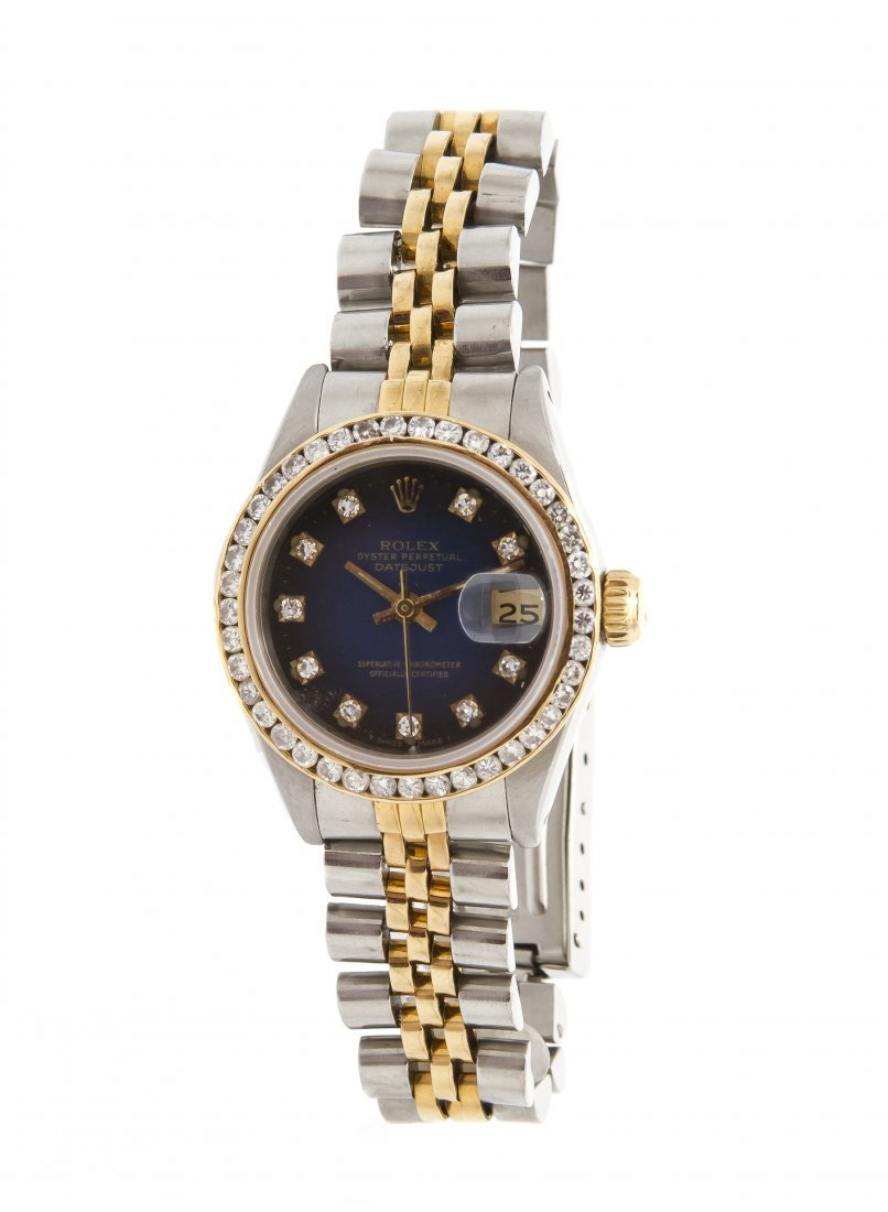 A Stainless Steel, Yellow Gold and Diamond Datejust Wri