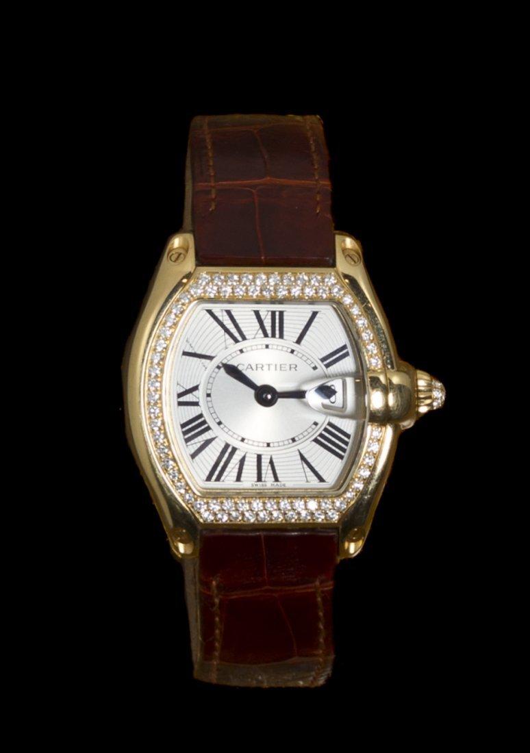 An 18 Karat Yellow Gold and Diamond Roadster Wristwatch