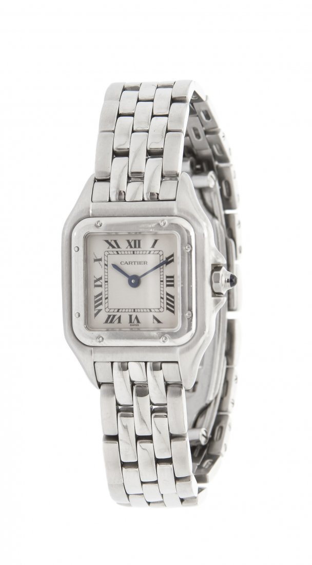 A Stainless Steel Panther Wristwatch, Cartier,