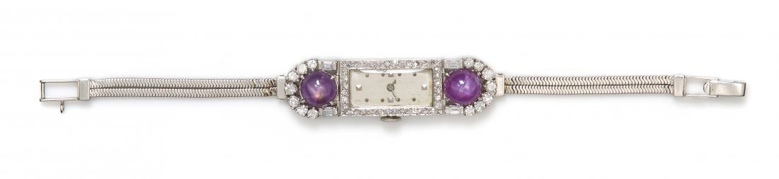 A Platinum, Star Ruby, and Diamond Wristwatch,