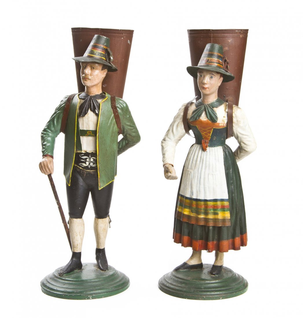 Two Tole Figures, Height 15 1/2 inches.