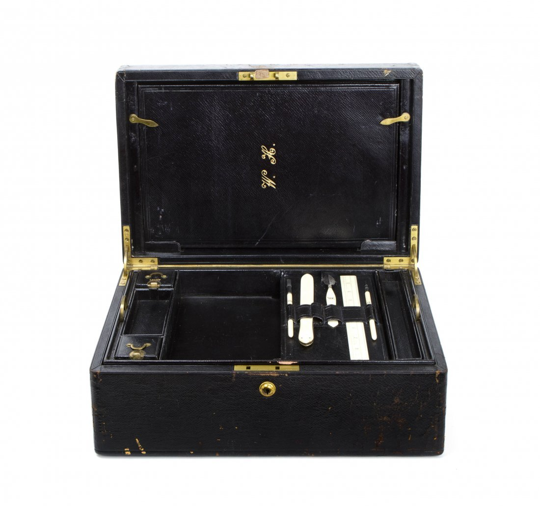A Victorian Morocco Necessaire Travel Case, Height 6 1/