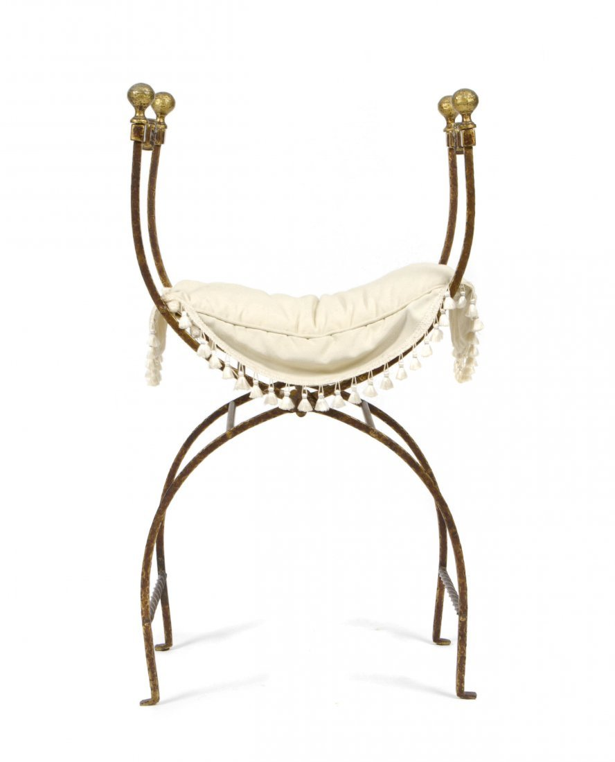 A Neoclassical Style Curule Wrought Iron Bench, Height