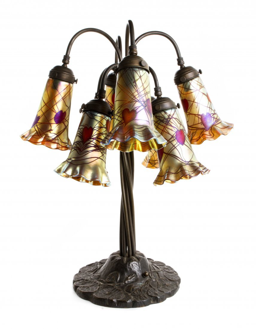 An American Brass and Glass Lily Lamp, Height 24 1/2 in