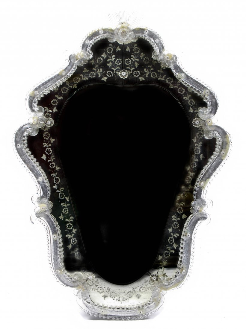 A Venetian Glass Mirror, Height 33 x width 23 inches.