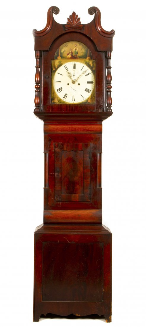 An American Chippendale Style Mahogany Tall Case Clock,