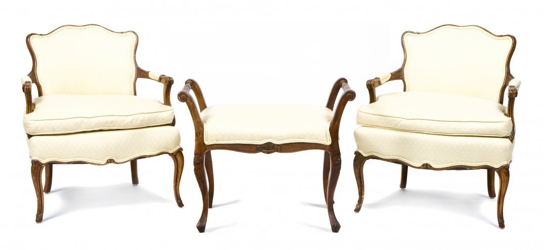 A Pair of Louis XV Style Fauteuil, Height 29 1/2 x widt