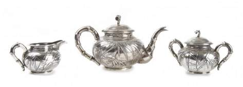 A Chinese Export Sterling Silver Tea Service Hung Chon