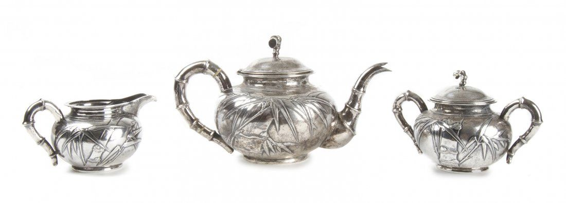A Chinese Export Sterling Silver Tea Service, Hung Chon