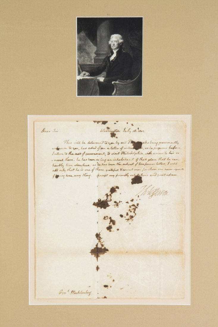 JEFFERSON, THOMAS. Autographed letter signed, 1p., July