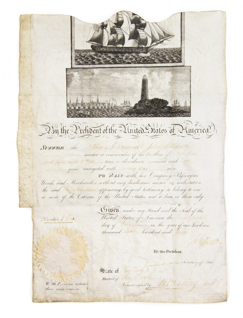 JEFFERSON, THOMAS. Document signed, one page, July 28,