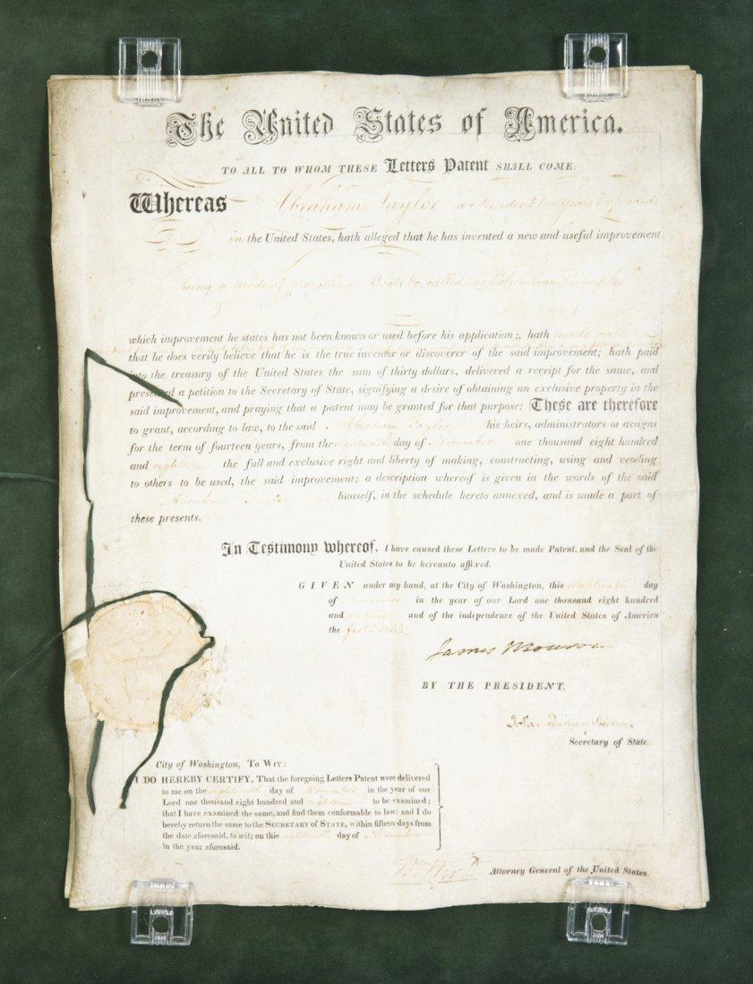 MONROE, JAMES. Ds, 4pp., Nov 18, 1818. Letters patent t